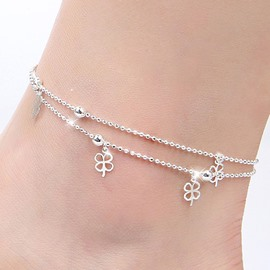 Cute Clover Decorated Double Layers Silver Anklet