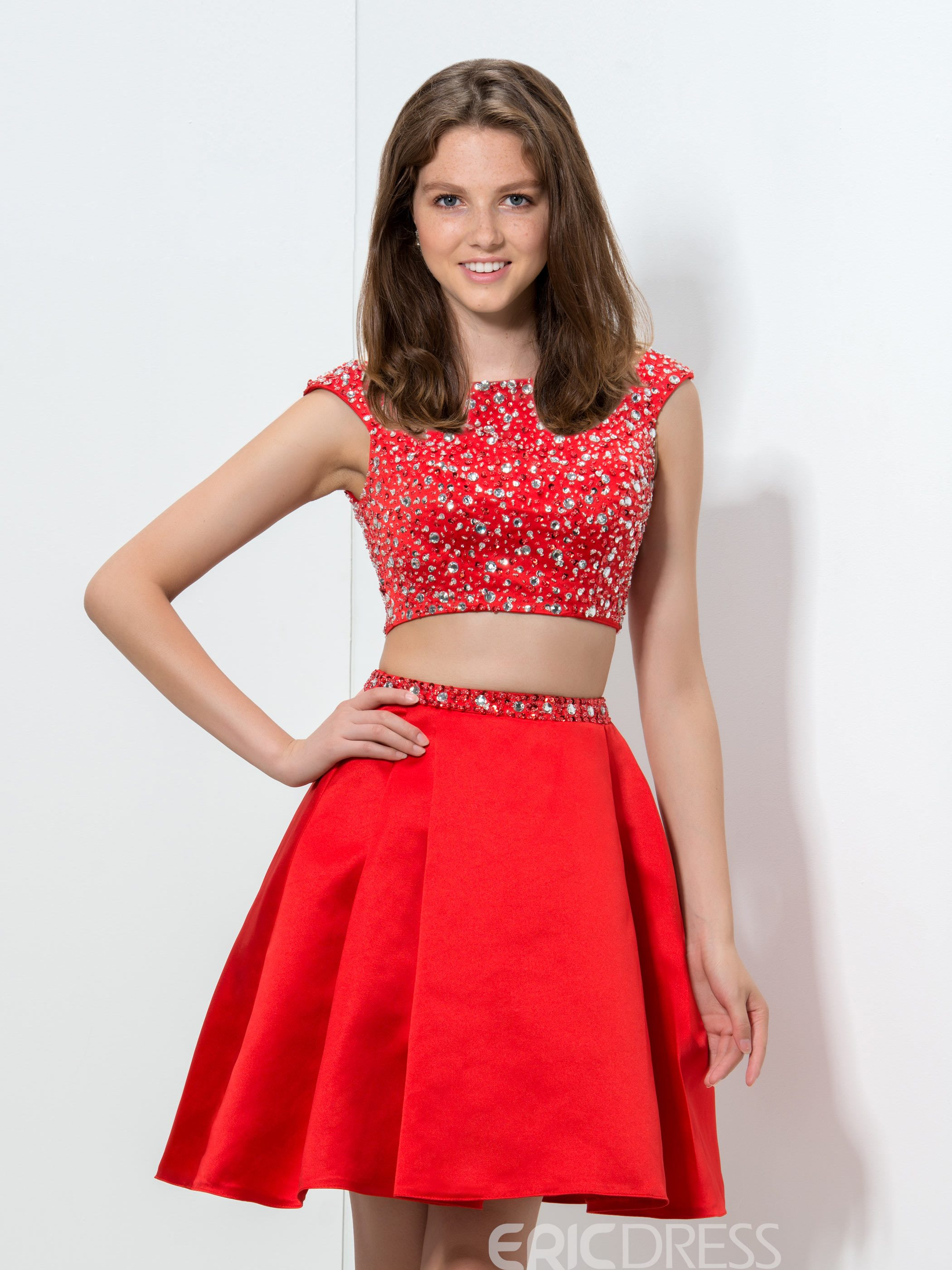 Ericdress Cap Sleeve Sequins Two-Piece Homecoming Dress