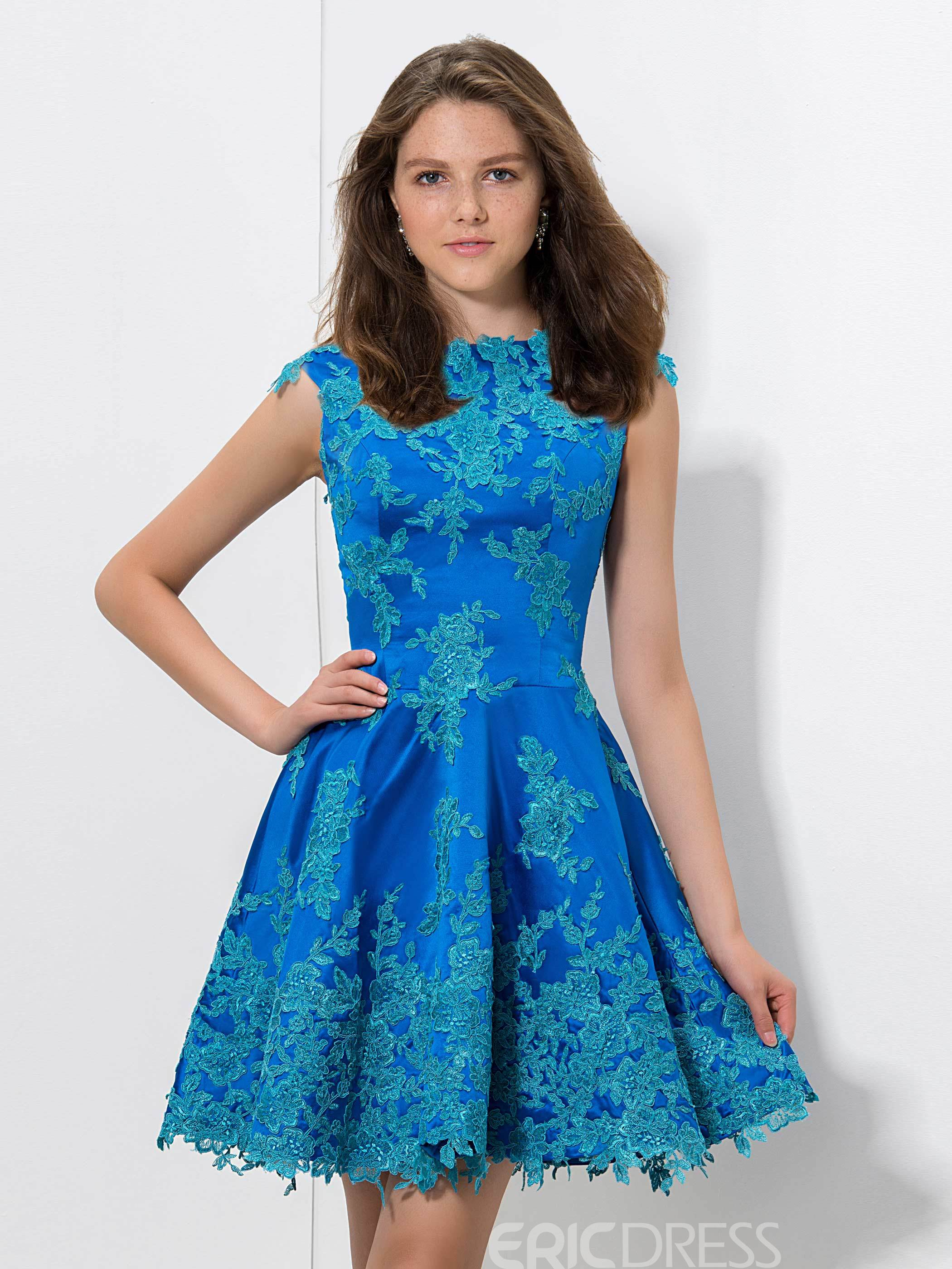 Ericdress A-Line Appliques Cap Sleeves Zippe-Up Back Homecoming Dress