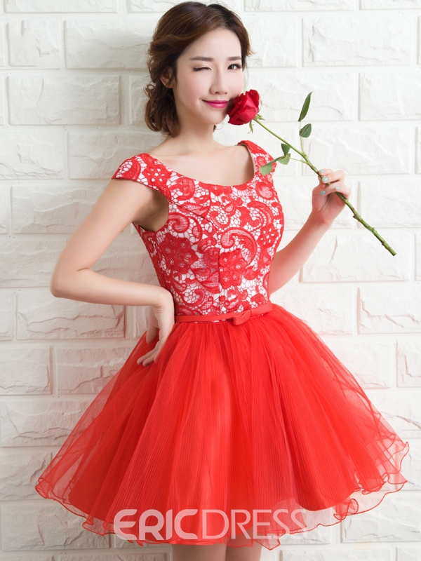 Ericdress A-Line Lace Ruffles Homecoming Dress