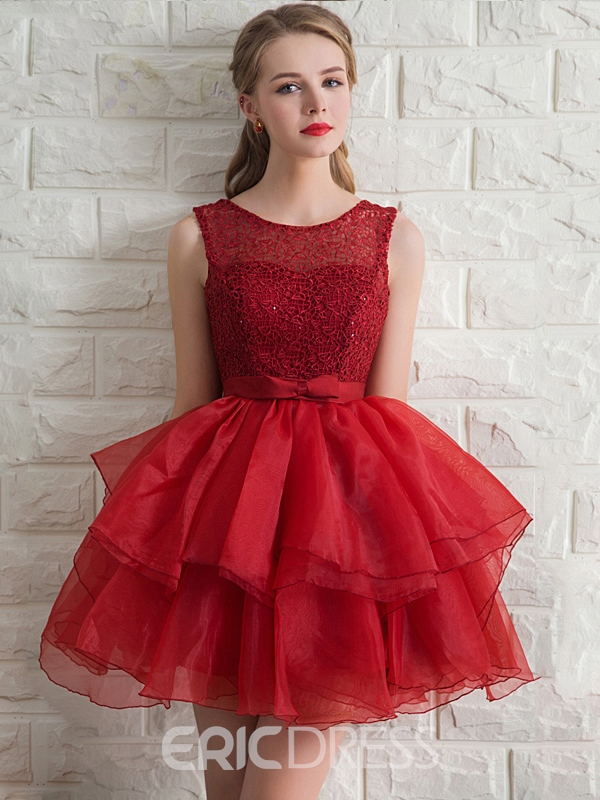 Ericdress Scoop Neck A-Line Lace Bow Sashes Homecoming Dress