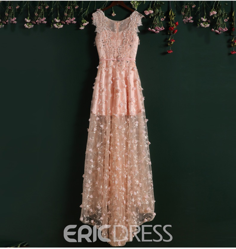 Ericdress Sheer Neck Appliques Bow Prom Dress