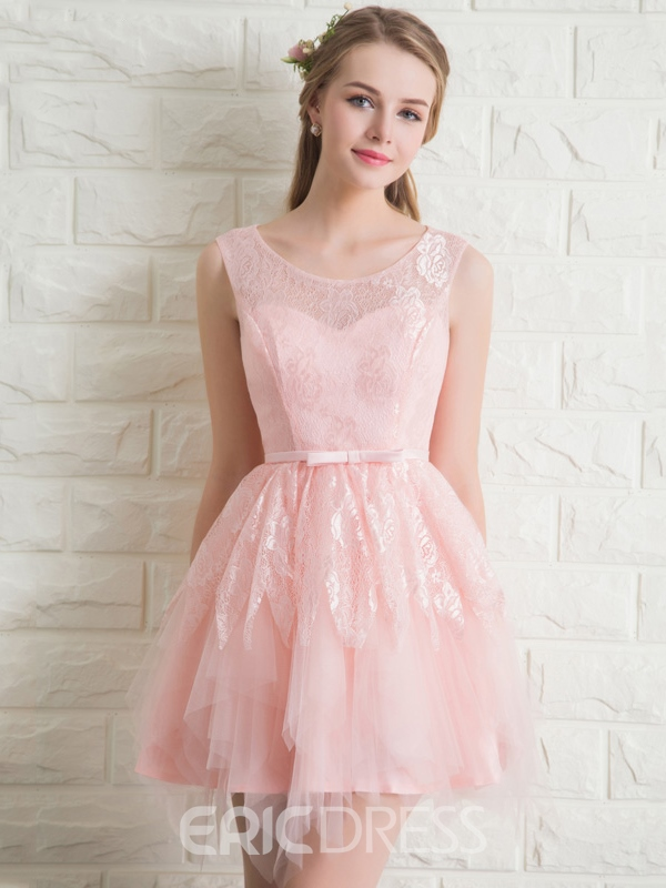 Ericdress Bowknot Lace Pearl Pink Homecoming Dress