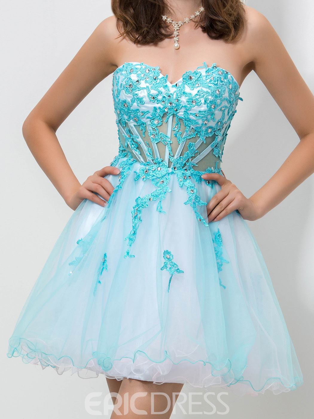 Ericdress Sweetheart Corset Appliques Homecoming Dress