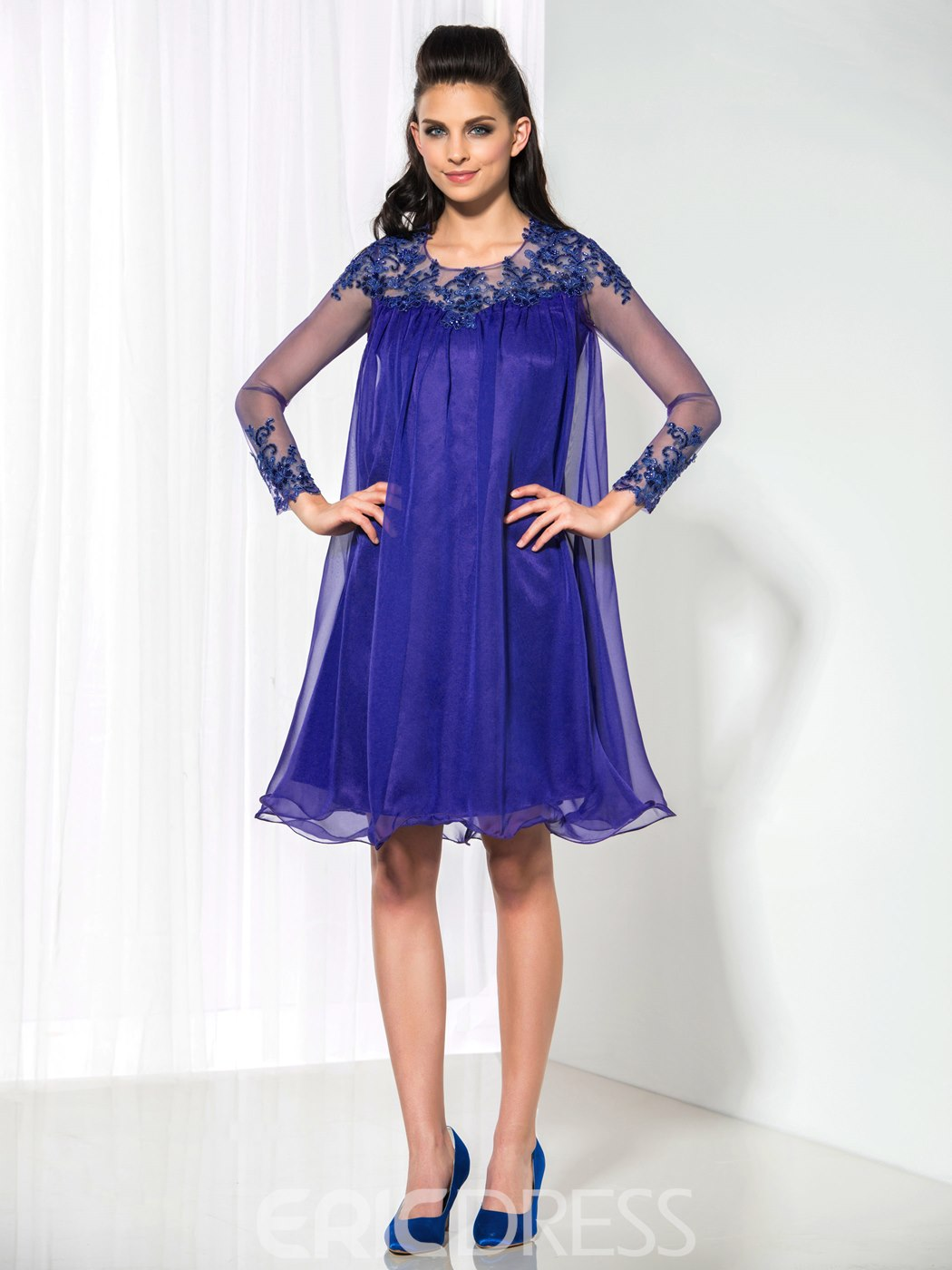 Ericdress A-Line Long Sleeve Appliques Sequins Cocktail Dress