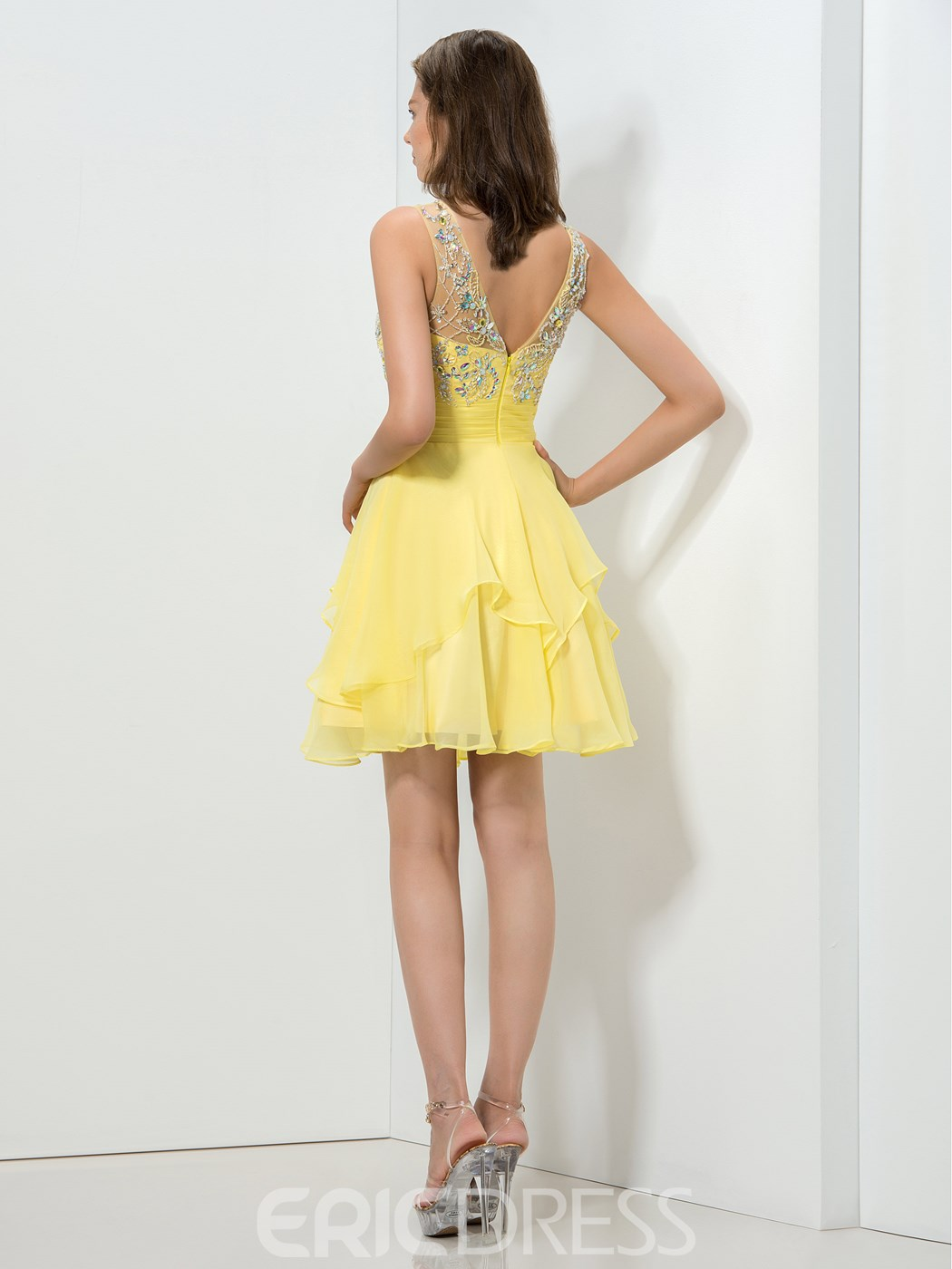 Ericdress bijou cou perles paillettes court Homecoming robe