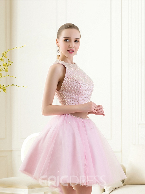 Ericdress Jewel Neck A-Line Pearls Mini Homecoming Dress