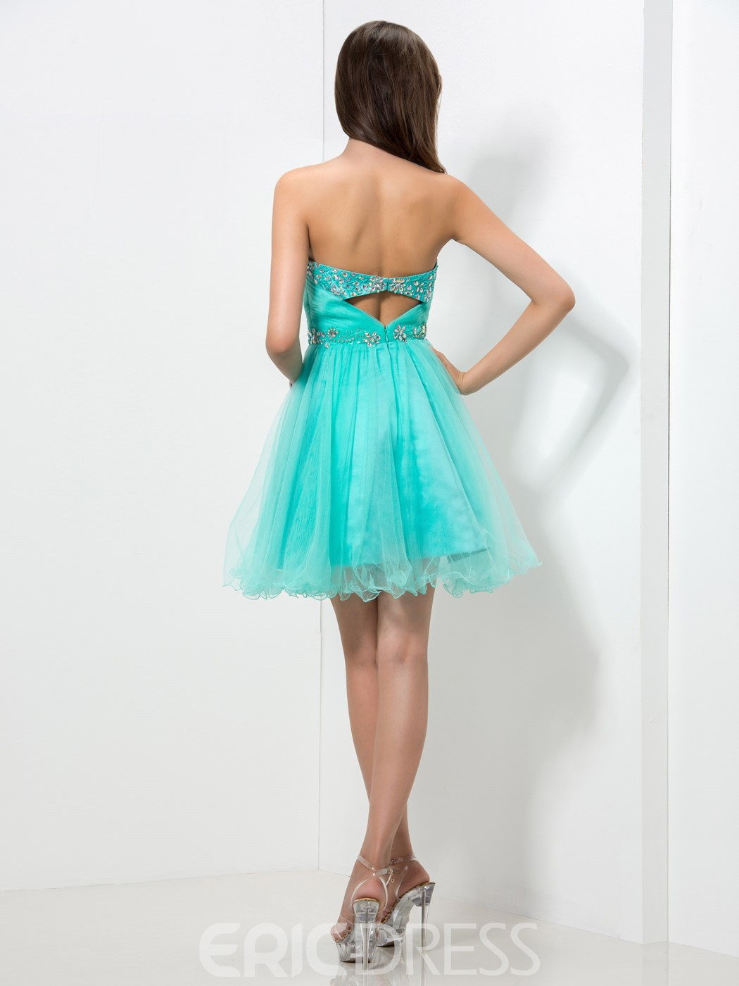 Ericdress Cute Sweetheart Beaded Ruffles Homecoming Dress