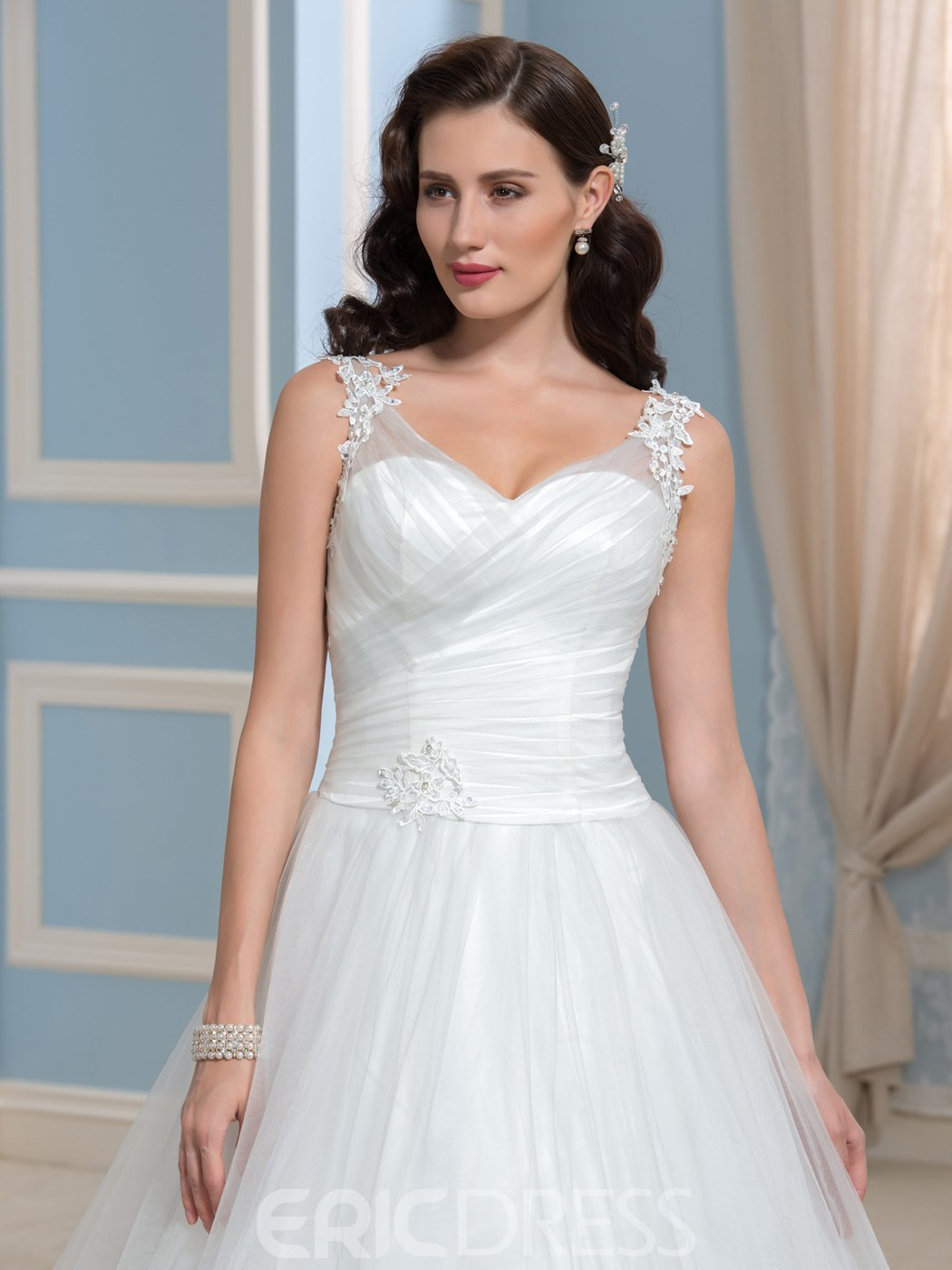 Ericdress Simple A Line Appliques Court Train Wedding Dress