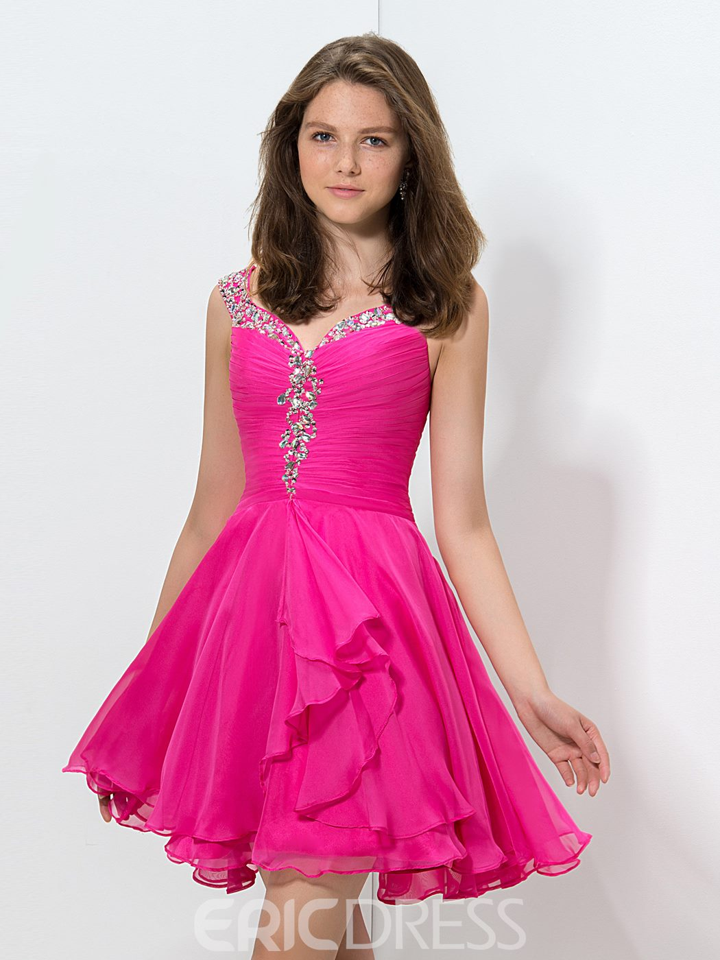 Ericdress Straps Beaded Pleats Short Homecoming Dress