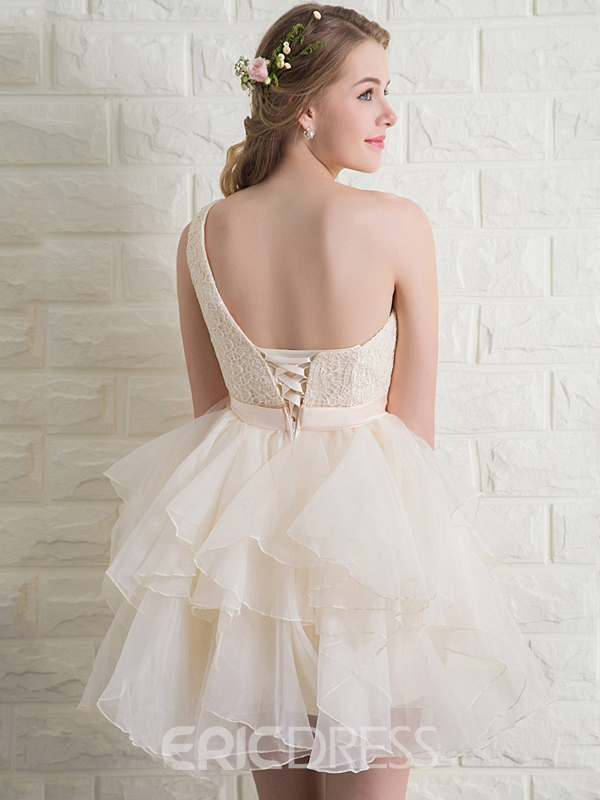 Ericdress One-Shoulder A-Line Lace Bow Homecoming Dress