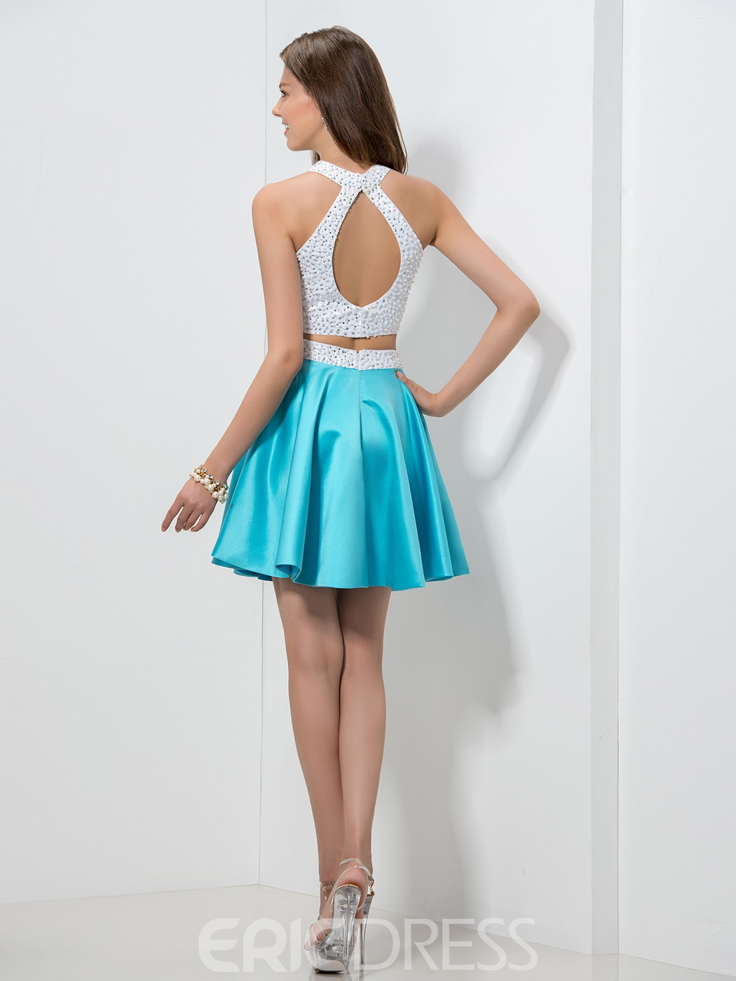 Ericdress Pearl Key Hole Back Two-Piece Homecoming Dress
