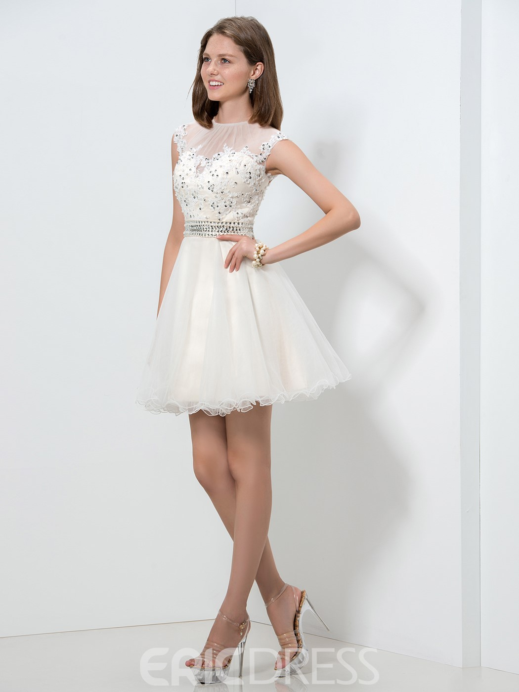 Ericdress Jewel Neck Appliques Sequins Ruffles Homecoming Dress
