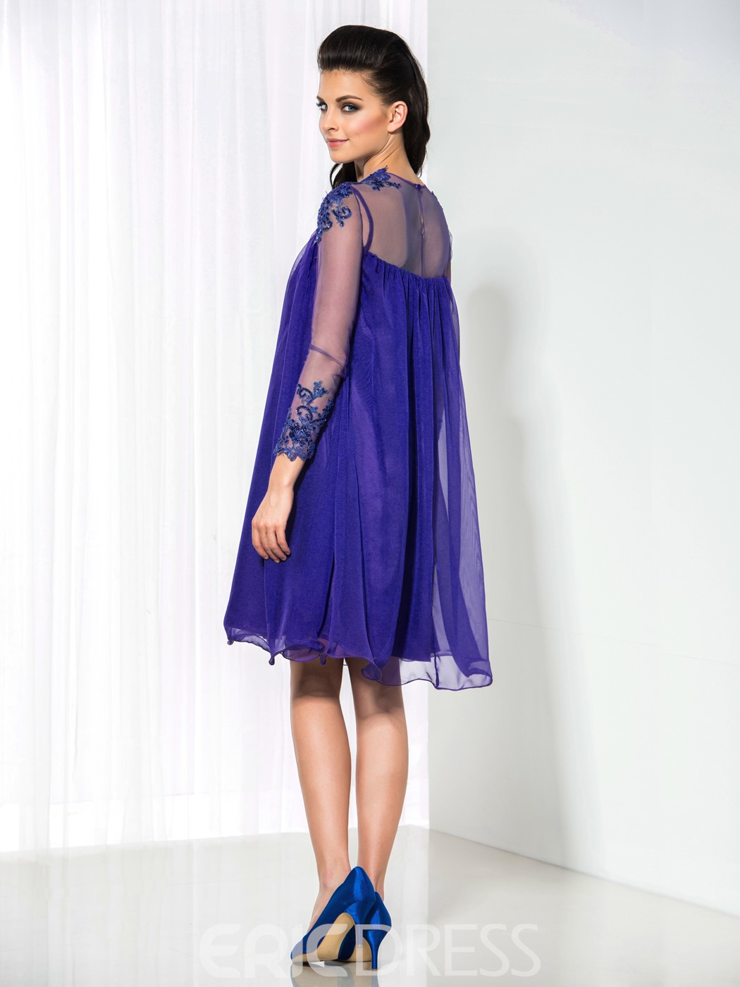 Ericdress A-Line Long Sleeve Appliques Sequins Cocktail Dress ...