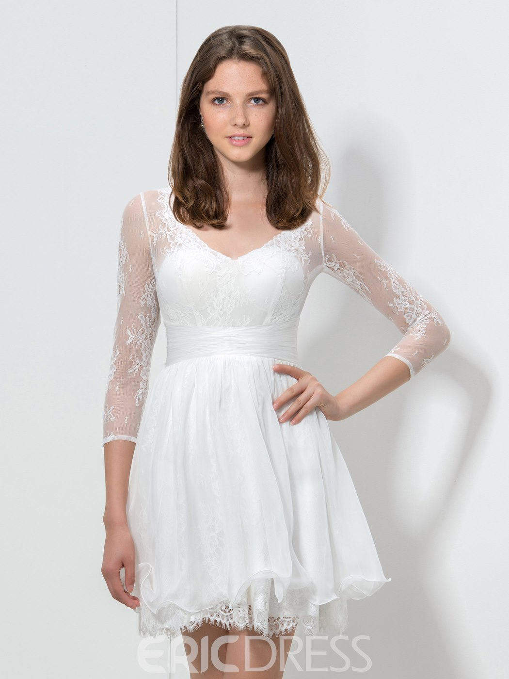 Ericdress 3/4 Long Sleeve A-Line Lace Cocktail Dress