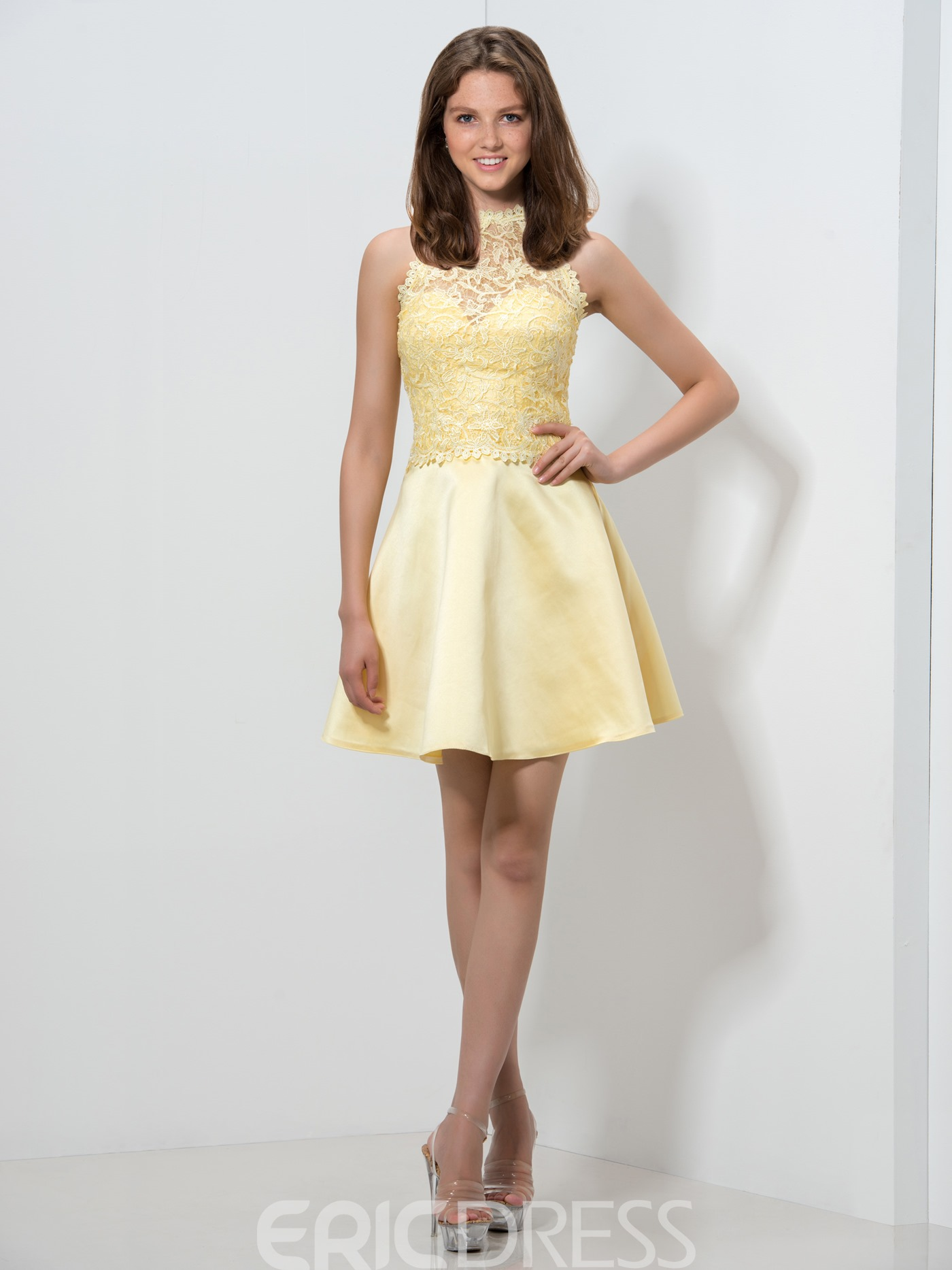 Ericdress Lace Bowknot Pearl Short Homecoming Dress