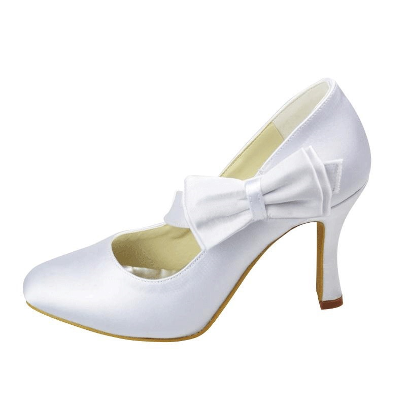 Ericdress Delicate White Wedding Shoes with Bowtie
