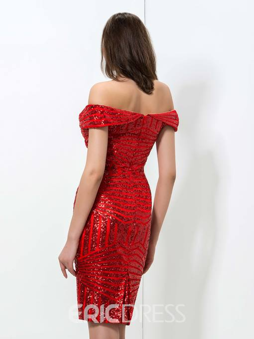 Ericdress Off-The-Shoulder Sequins Cocktail Dress