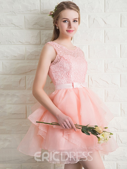 Ericdress Round Neck Lace Bow Sashes Homecoming Dress