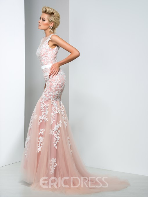 Ericdress Jewel Neck Floor-Length Appliques Mermaid Evening Dress