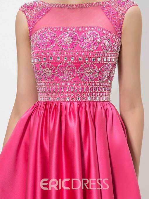 Ericdress Cap Sleeve Jewel Neck Beaded Homecoming Dress
