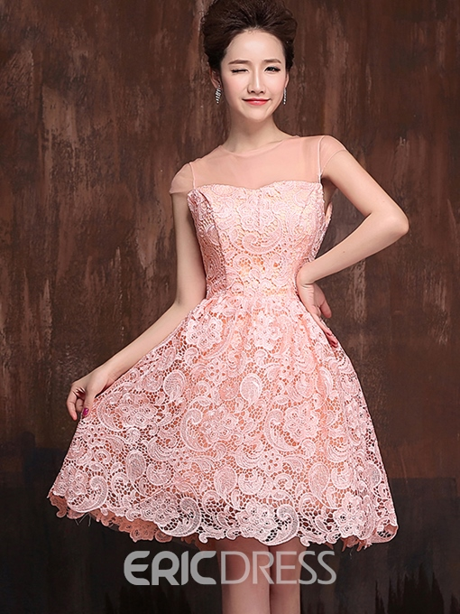 Ericdress A-Line V-Neck Belt Lace Homecoming Dress