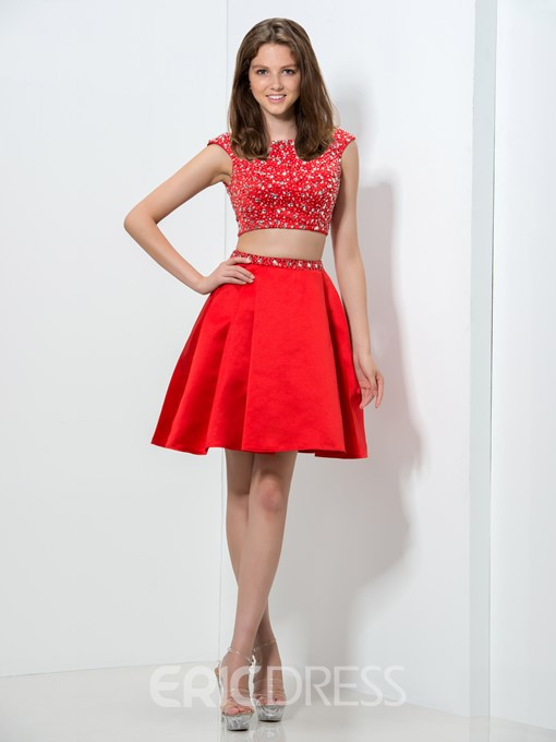 Ericdress Cap Sleeve Beading Two Piece Red Homecoming Dress