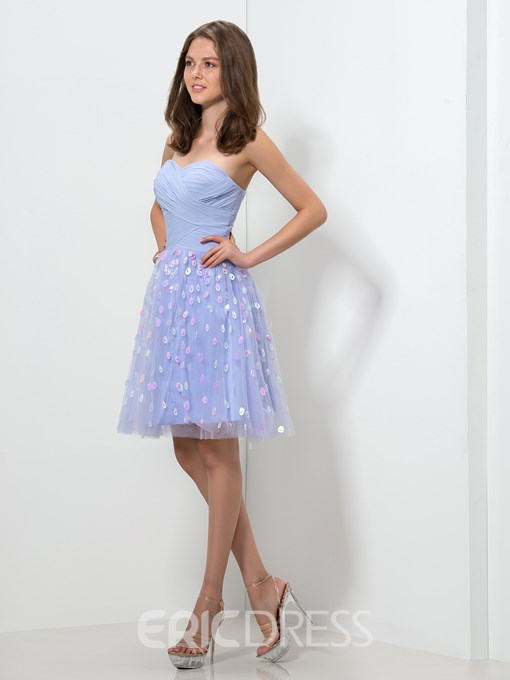Ericdress Sweetheart Appliques Pleats Short Homecoming Dress