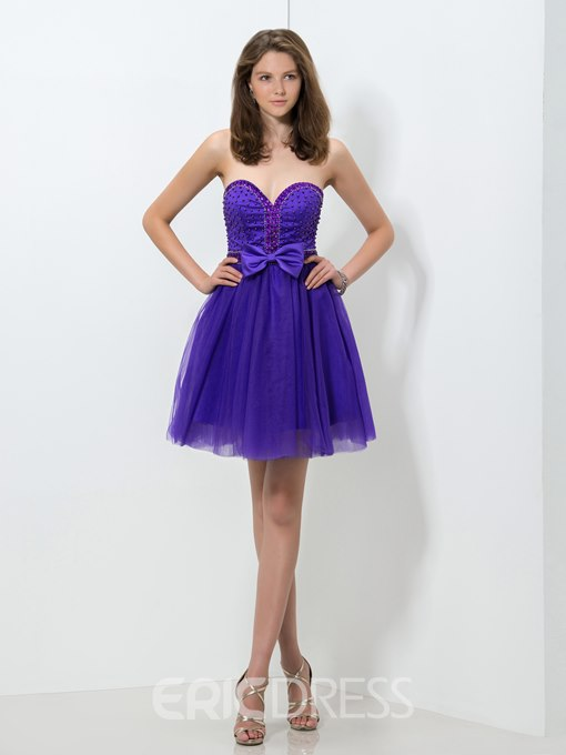 Ericdress Sweetheart Beaded Bowknot Homecoming Dress