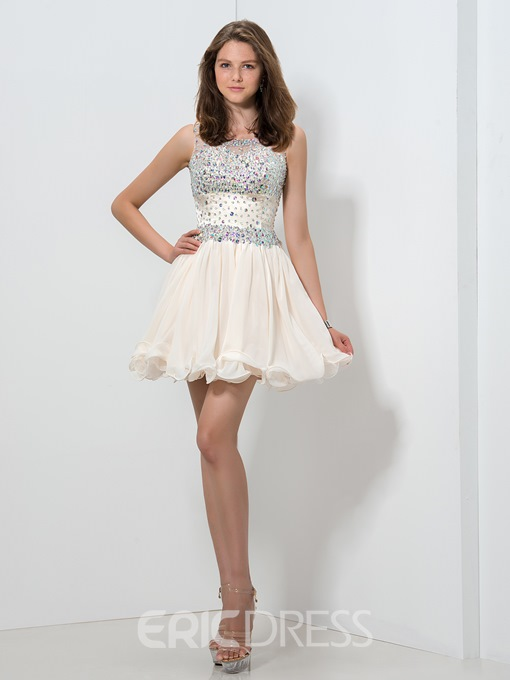Ericdress A-Line Jewel Neck Beaded Homecoming Dress