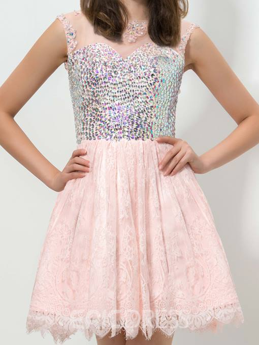 Ericdress Jewel Neck Beaded Lace Homecoming Dress