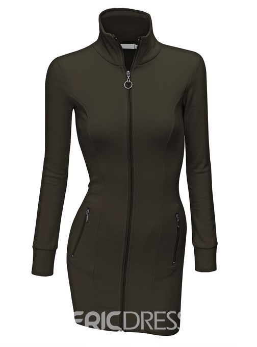 Ericdress Hooded Zipper Sheath Dress