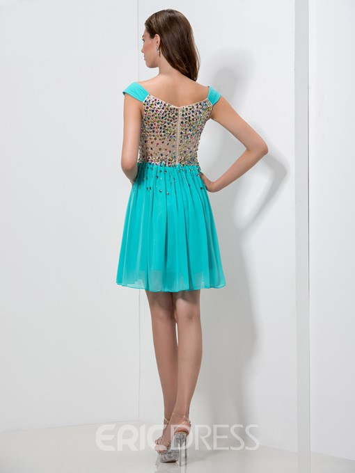 Ericdress Off-The-Shoulder Beaded Corset Homecoming Dress