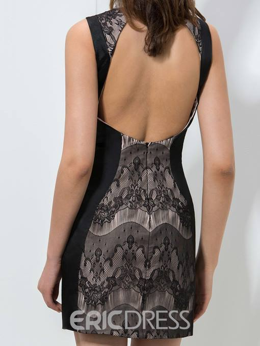 Ericdress Round Neck Lace Short Cocktail Dress