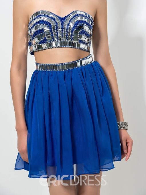 Ericdress Sweetheart Sequins Two-Piece Homecoming Dress