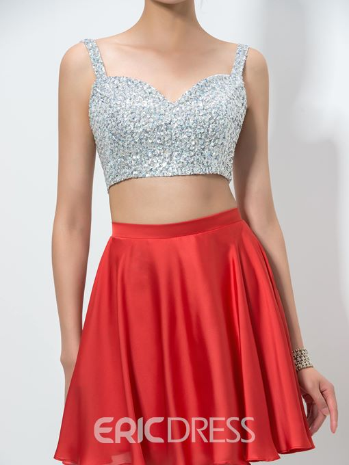 Ericdress Straps Sequins Two-Piece Homecoming Dress