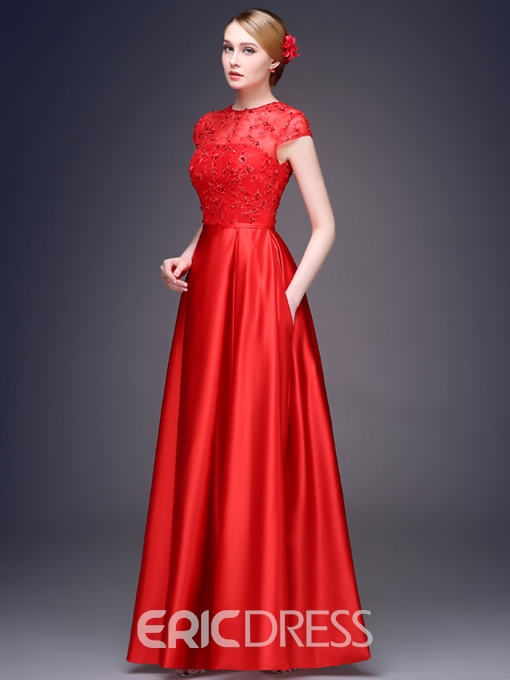 Ericdress Jewel Neck Cap Sleeve Sequins Evening Dress