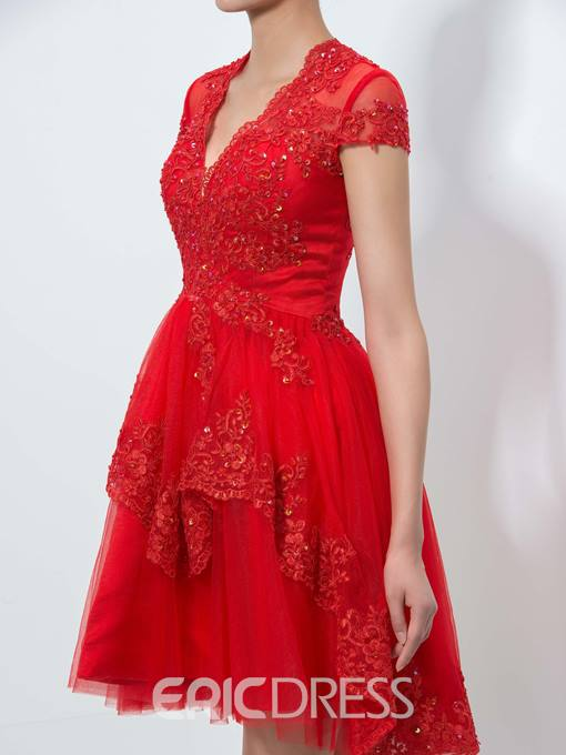 Ericdress V-Neck Appliques Sequins Short Homecoming Dress