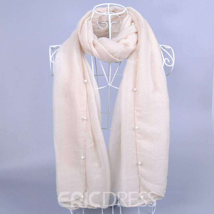 Pure White Pearl Decorated Plain Voile Scarf