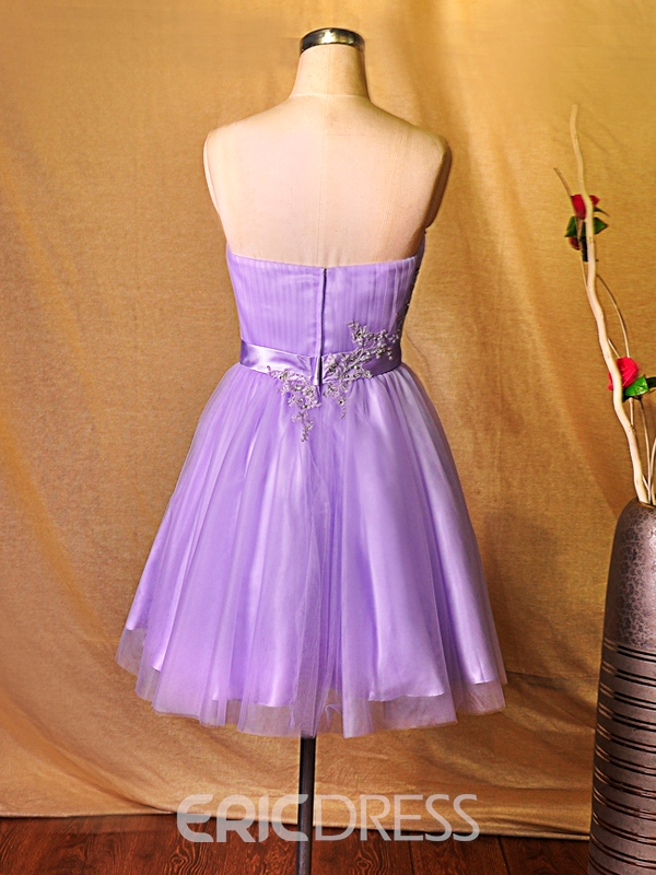 Ericdress Strapless Appliques Ribbon Homecoming Dress