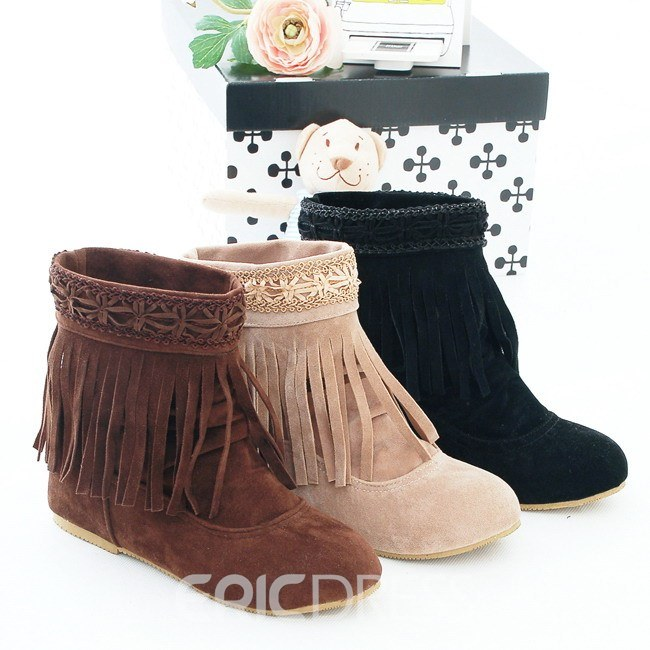 Ericdress Retro Tassels Decoration Ankle Boots