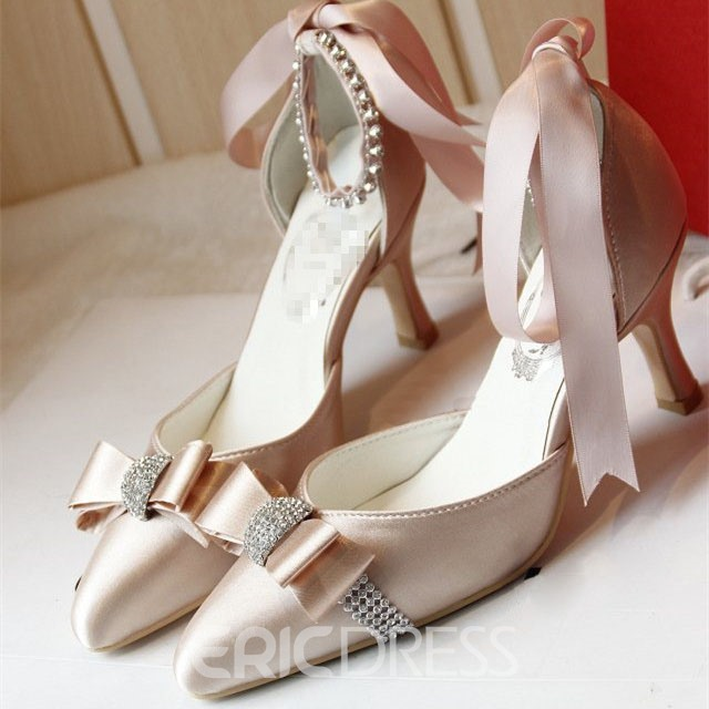 Ericdress Satin Pointed-toe Bowtie Wedding Shoes