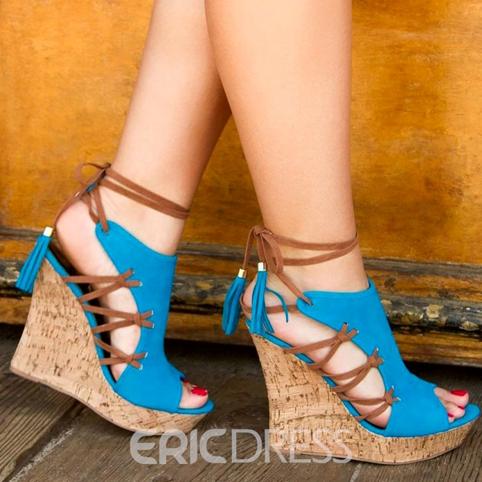 Ericdress Blue Lace-up Peep-toe Wedge Sandals