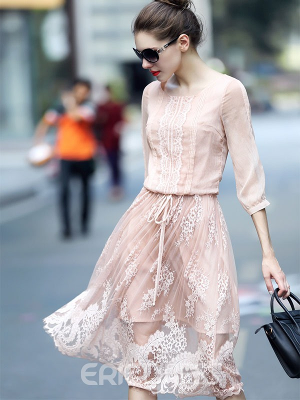 Ericdress Sweet Mesh Patchwork 3/4 Length Sleeves Casual Dress