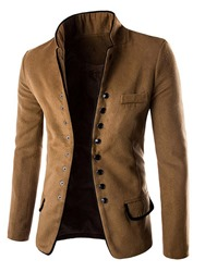 Ericdress Casual Stand Collar Single-Breasted Mens Overcoat