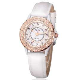 Concise White Leather Strap Vogue Watch