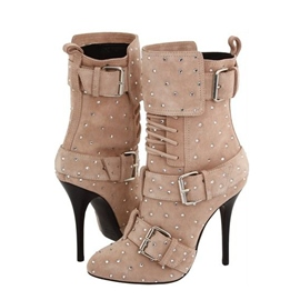 Ericdress Khaki High Heel Boots with Rivets&buckles