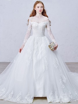 Ericdress Elegant Off the Shoulder Appliqies Long Sleeves Wedding Dress