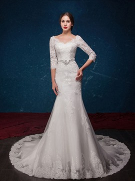 Ericdress Amazing Scoop 3/4 Length Sleeves Mermaid Wedding Dress