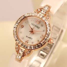 Delicate Zircon Decorated Shining Female Watch